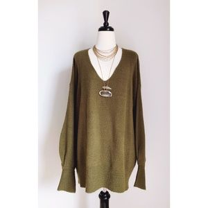 Abound Oversized V-Neck Olive Green Sweater